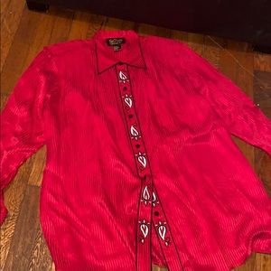Bob Mackie silk wearable art shirt blouse 1X